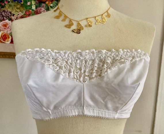 1970s Vintage White Strapless Bralette with Sheer