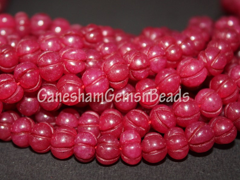 Red Jade Carved Melon Beads Red Jade Rondelle Beads Natural Red Jade Melon Shape Beads Red Jade Carving Melon Beads Red Jade Melon Briolette