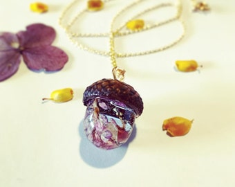 Botanical Necklace 925 Sterling Silver Chain Real Flower Necklace Genuine Leather Birch Bark Heart /& Purple Wildflower Fluff Necklace