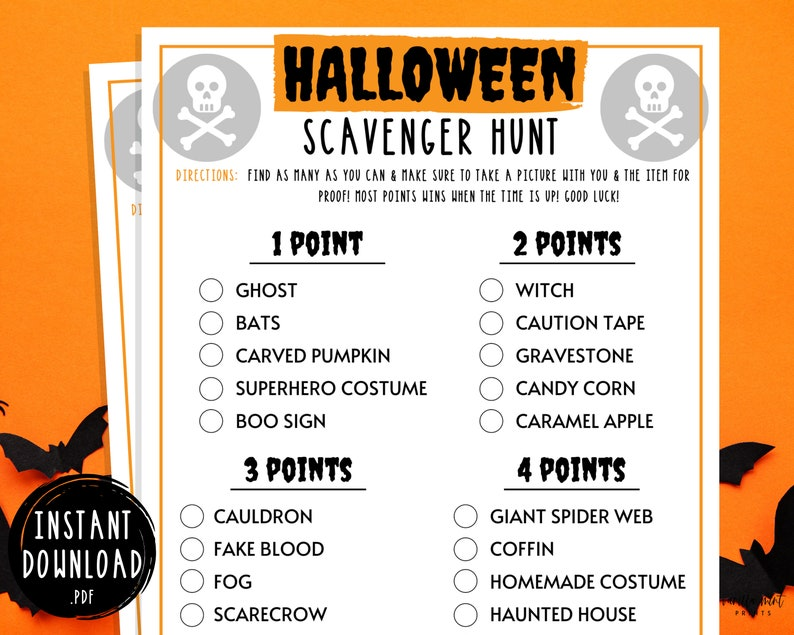 Halloween Scavenger Hunt Game  Halloween Printable Games  image 0
