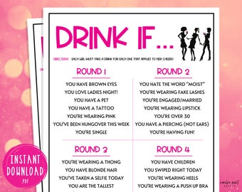 Drink If Game   Ladies Night Party Games   Fun Girls Night Out   Girls Night In   Adult Games   Games for Adults   Fun Drinking Games