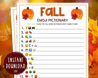 Fall Emoji Pictionary Game | Printable Autumn Games | Fall Time Activities for Adults & Kids | Fun Autumn Games | Halloween | Thanksgiving