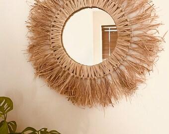 Boho mirror. Raffia mirror