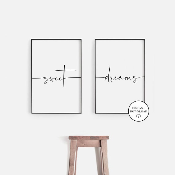 Wall Art Poster Picture Together Love Sweet dreams SET OF 3 A4 BEDROOM PRINTS