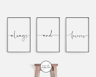 Always and Forever Print, 3 Pieces wall Art, Always Forever, Bedroom Wall Decor Poster, Minimal Art Print, Printable Quotes Digital Download