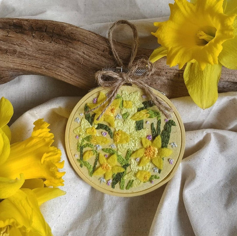 A Field of Daffodils ~ Hand embroidered springEaster hoop FREE UK DELIVERY wooden frame sustainably made