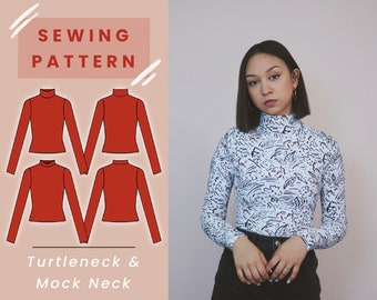 Turtleneck & Mock Neck Top Digital PDF Sewing Pattern // US Size XS-L // Instant Download with 4 Printable Sizes