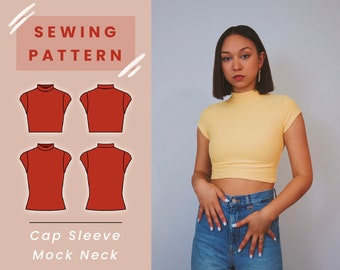 Cap Sleeve Mock Neck Top Digital PDF Sewing Pattern // US Size XS-L // Instant Download with 4 Printable Sizes
