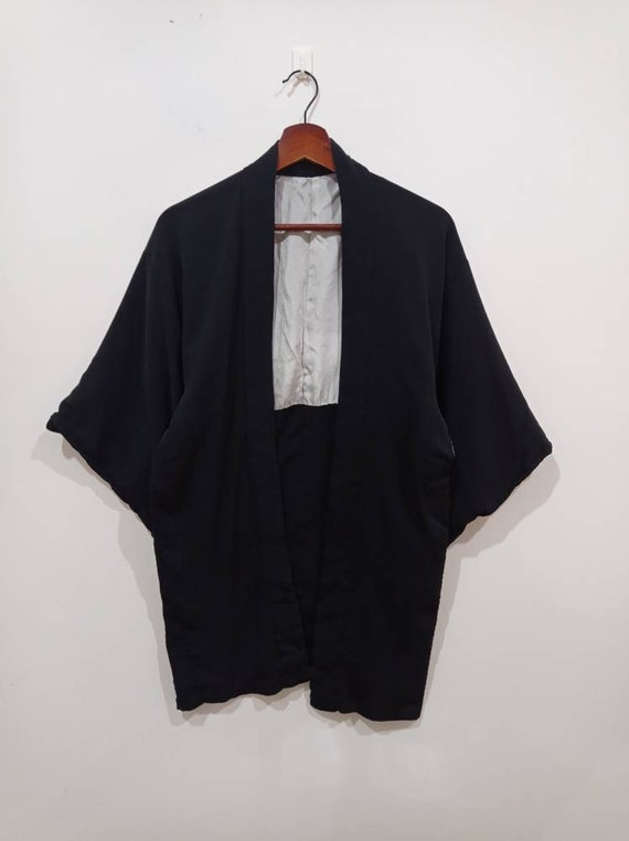 Vintage kimono noragi haori Hanten Jinbei Japanese traditional cardigan jacket size S M *two pinholes at right sleeve