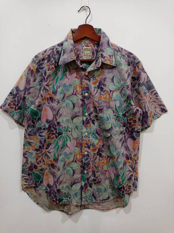 VNTG Nylon Floral Abstract Windbreaker M T MGM