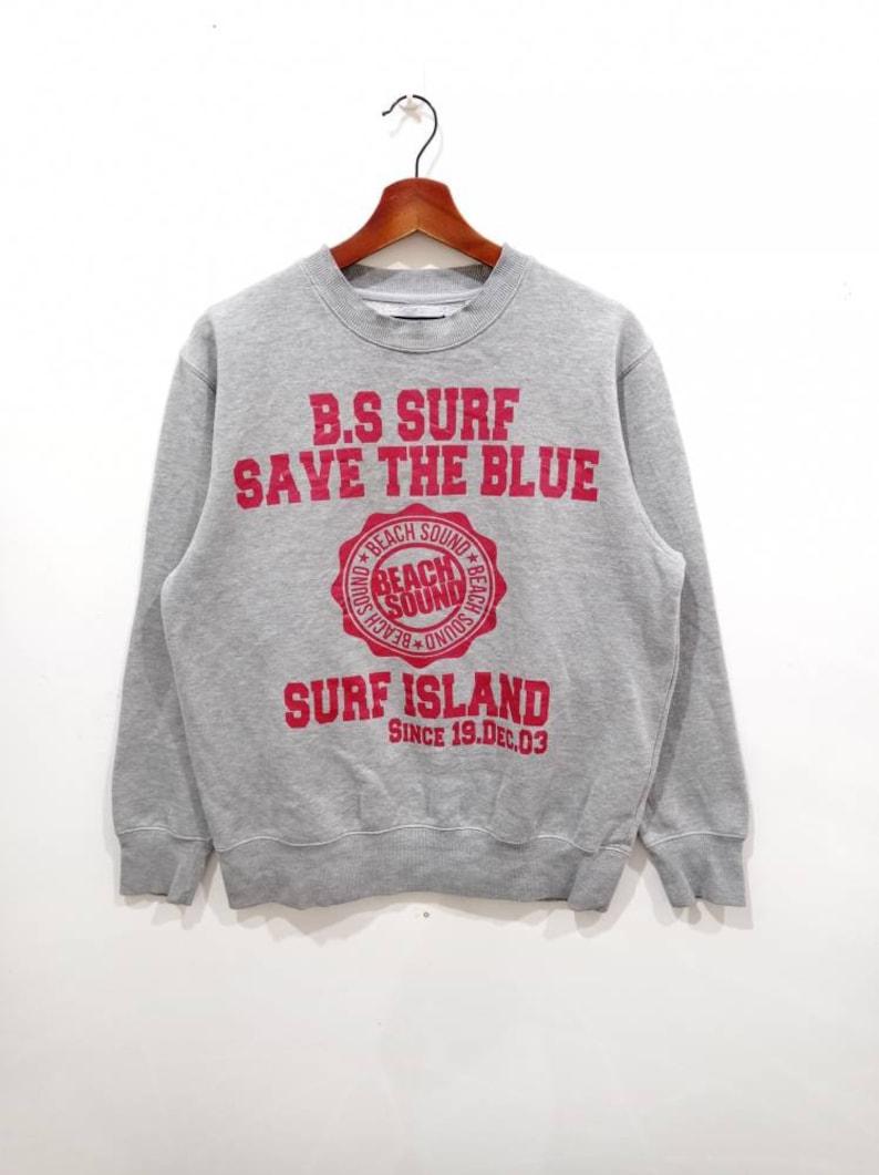 Vintage 90s Beach sound surf save the blue crewneck sweatshirt size M
