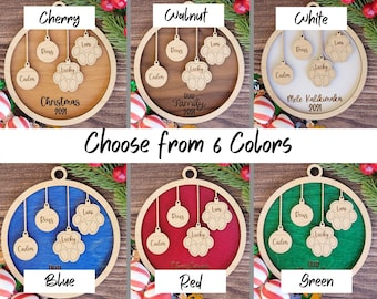 Pet and People Our Family Christmas Ornament, Personalized People and Paw Print combo - Maple & Walnut, Cherry, Red, Green, White, or Blue