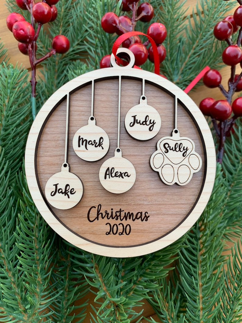 Pet and People Our Family Christmas Ornament Cherry or Blue Green Personalized People /& Paw Print combo with Maple and Walnut Red