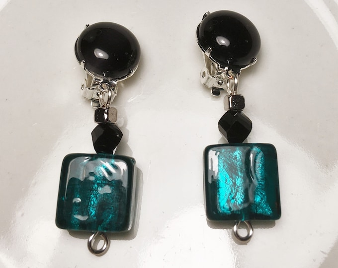 Silver Lined Teal and Black ClipOn Earrings Black Cat/'s Eye and Teal Handcrafted Earrings Teal Lampwork Glass Handcrafted Clip-On Earrings