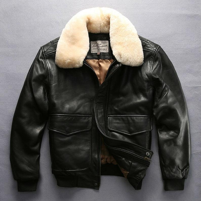 Flight Jacket Bomber Genuine Leather Jacket Men Winter Coat Motorcycle Leather Jacket
