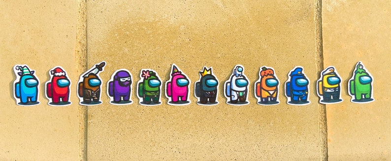 12 Pieces For Laptop, Phone, Bottles, etc. Among Us Characters Sticker Pack
