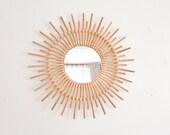 Rattan Mirror Wall Decor Sunburst Mirror Sun Mirror Boho Mirror Bamboo Mirror Boho Decor Vintage Mirror Housewarming Gift, Birthday Gift