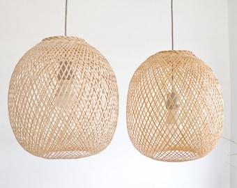 ROUND BAMBOO PENDANT Light - Handmade Wooden Pendant Lamp Hanging,Fishing Trap Basket, Hanging Natural Woven E27,Round Bamboo Lampshdae