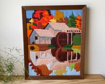 Vintage Farmhouse Crewel Art, Framed Embroidery, Retro Crewel, Framed Autumn Rural Scene, Boho Wall Decor, Country Farmhouse, Cabin Decor