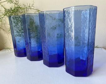 Set of 4 Vintage Anchor Hocking Textured Glass Cobalt Blue Tumblers, Octagonal Blue Glasses, Vintage Blue Glasses, Boho Blue Glassware