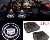 2Pcs Wireless Car Door Projector Welcome Ghost Shadow LED Light Carbon Fiber For Cadillac