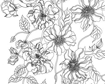 Pretty Coloring Page Etsy