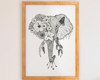 Floral Elephant - Black & White Art Print