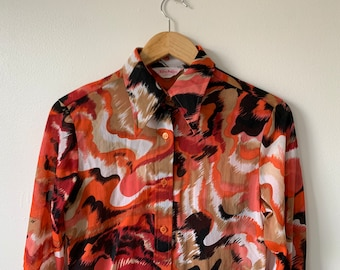Vintage 1960s 1970s Strato red mid century abstract pullover shirt