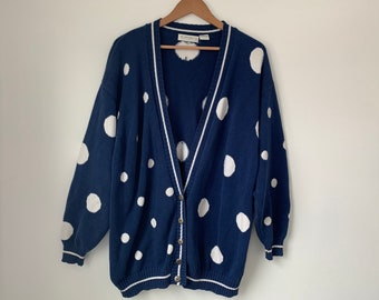 size small Nordstrom Polkadot Cardigan cotton sweater troppobella 1980s vintage long cardigan on trebd