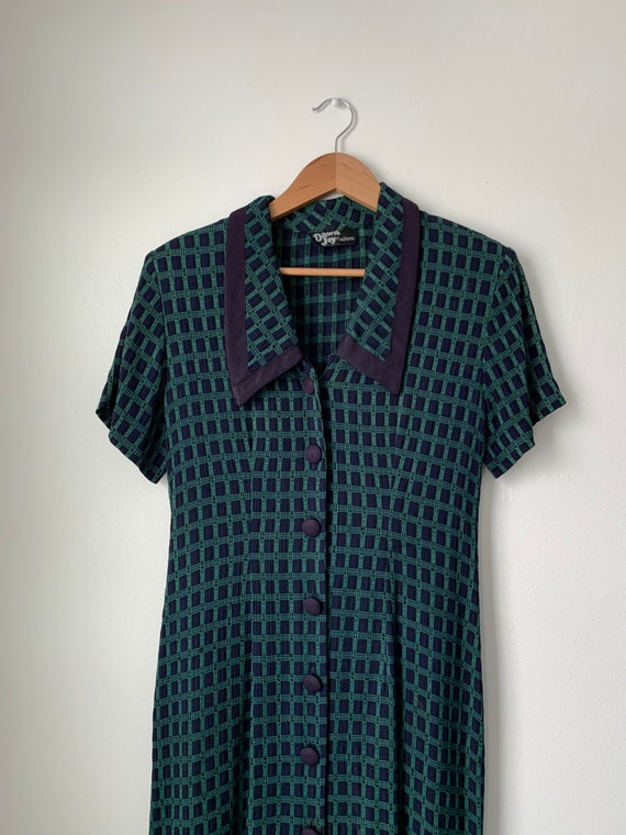 vintage 80s does 40s / 50s collared gingham shirtd