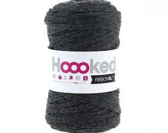 RibbonXL yarn, charcoal anthracite, hoooked, crochet basket, coaster, macrame, knitting yarn, crochet yarn