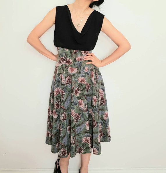 vintage high waisted floral corset flowy skirt / 9