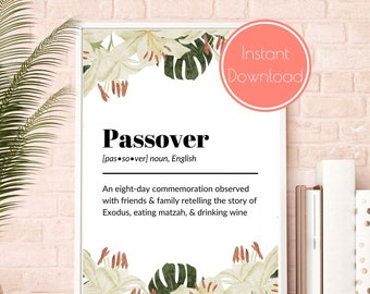Watercolor Passover Definition Print, Passover Decor, Passover Gift, Jewish Printable, Jewish Wall Art