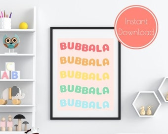 Rainbow Bubbala Jewish Nursery Art, Jewish Baby Gift, Modern Jewish Art, Nursery Wall Art