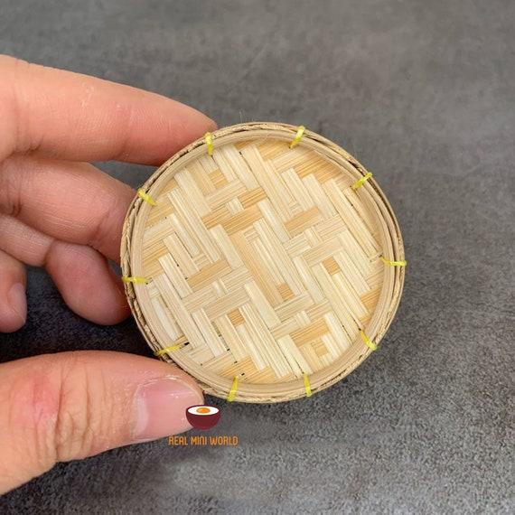 Dollhouse miniature vintage bamboo fruit basket Real Mini World
