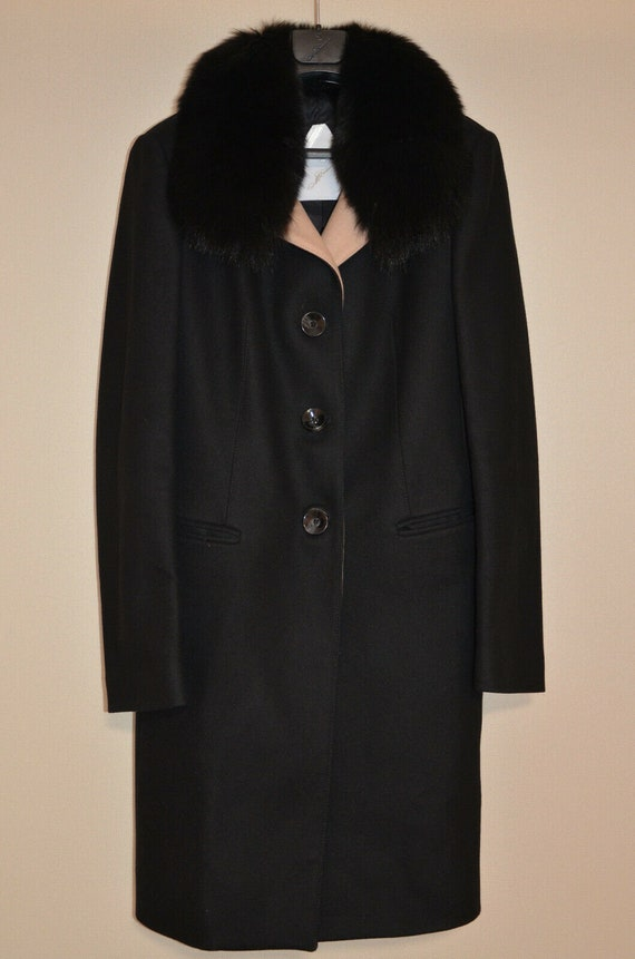 MONTECORE Black Cashmere Wool Real FOX Fur Collar