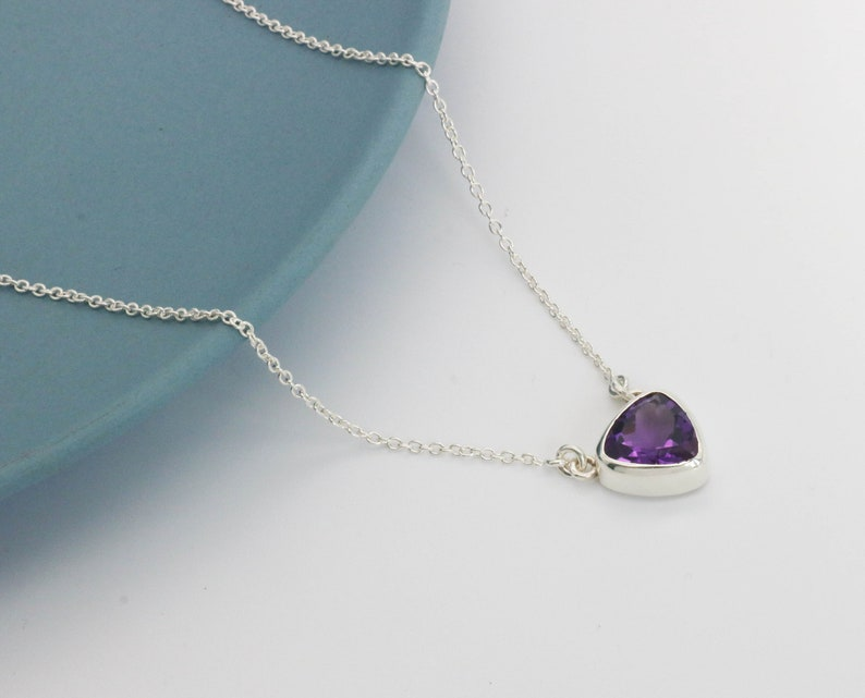 Amethyst Chain Necklace Sterling Silver Chain Pendant Natural Amethyst Adjustable Necklace Purple Amethyst Gemstone Jewellery