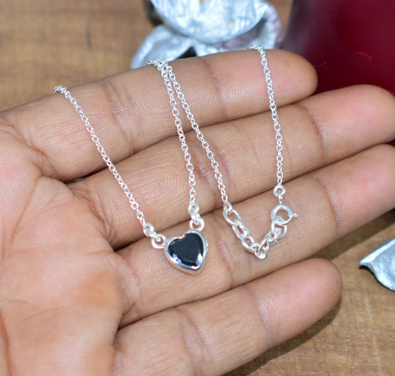 Onyx Chain Necklace Black Onyx Heart Shape Gemstone Jewellery  Necklace Sterling Silver Chain Pendant