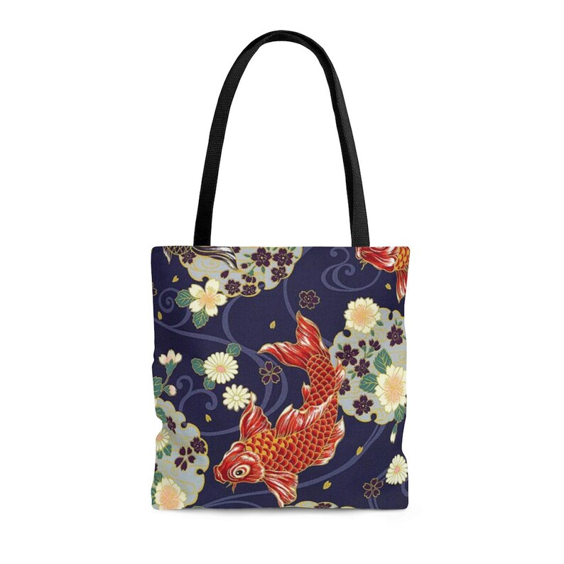 Asian Feng Shui Shopping Tote Bag Koi Fish Tote Bag Japanese Koi Fish Design Canvas Tote Bag Chinese Carp Fish Pattern Grocery Tote Bag