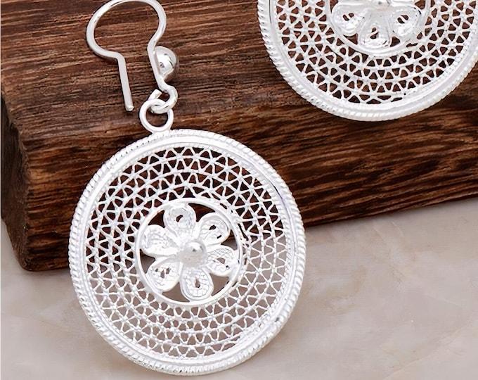 Silver Earrings Flower Design Earrings Hoop Earrings Filigree Earrings