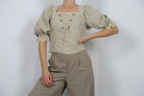 100% linen puff sleeve blouse
