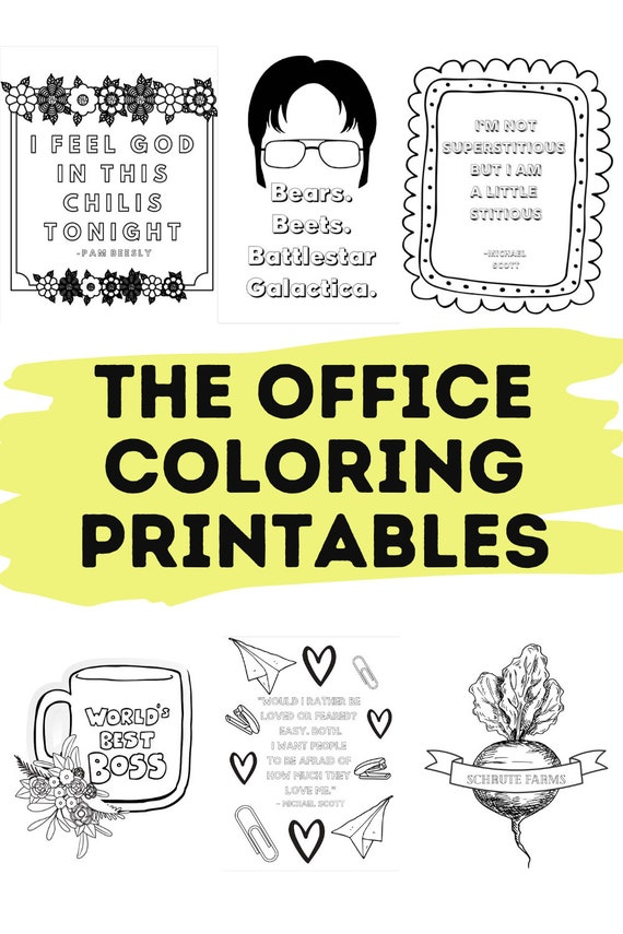 The Office Themed Coloring Sheet Printable 5 Full Size Etsy