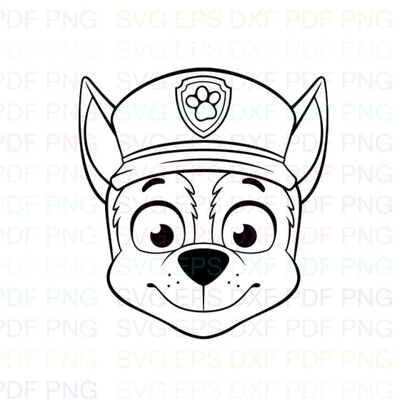 Chase Face Paw Patrol Outline Svg Stitch Silhouette Coloring Etsy
