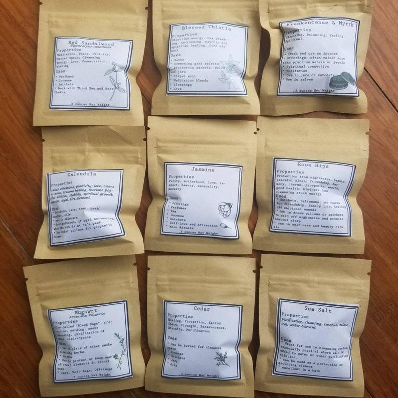 Custom Herb Kit Herbs .3oz samples Create your own Herb Sampler Herbal Starter Set Baby Witch spell Starter Kit Alchemy Kit Witch Box