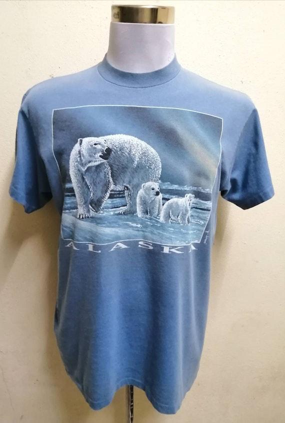 Vintage ALASKA Polar Bear Shirt Rare Family Bear B