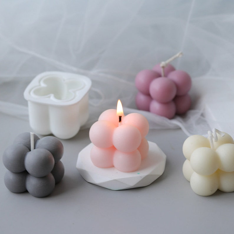 Magic Cube Candle Mold 3D Bubbles Candle Silicone Mold Atom Cube Mold Aroma mold Handmade Soap Mold Epoxy plaster mold,DIY Candle Craft,G246
