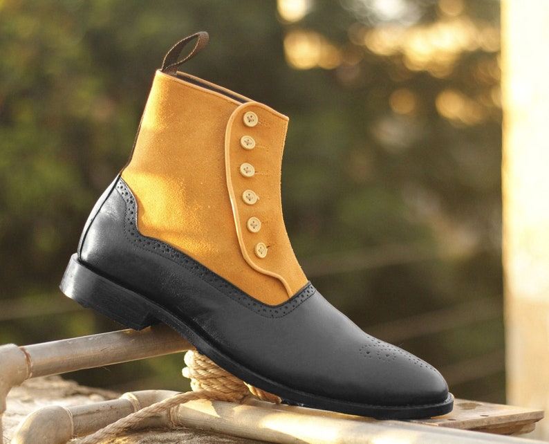 Edwardian Men's Shoes & Boots | 1900, 1910s     Men Handmade Tan & Black Leather Suede Boots Men's Brogue Toe Button Boots Mens Formal Boots $144.99 AT vintagedancer.com