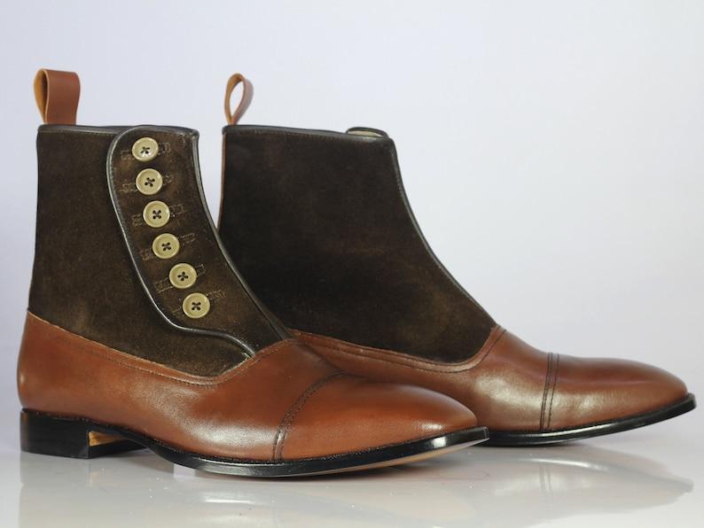 Edwardian Men's Shoes & Boots | 1900, 1910s     Men Handmade Brown Leather Suede Button Boots Men's Cap Toe Formal Boots mens boot $144.99 AT vintagedancer.com