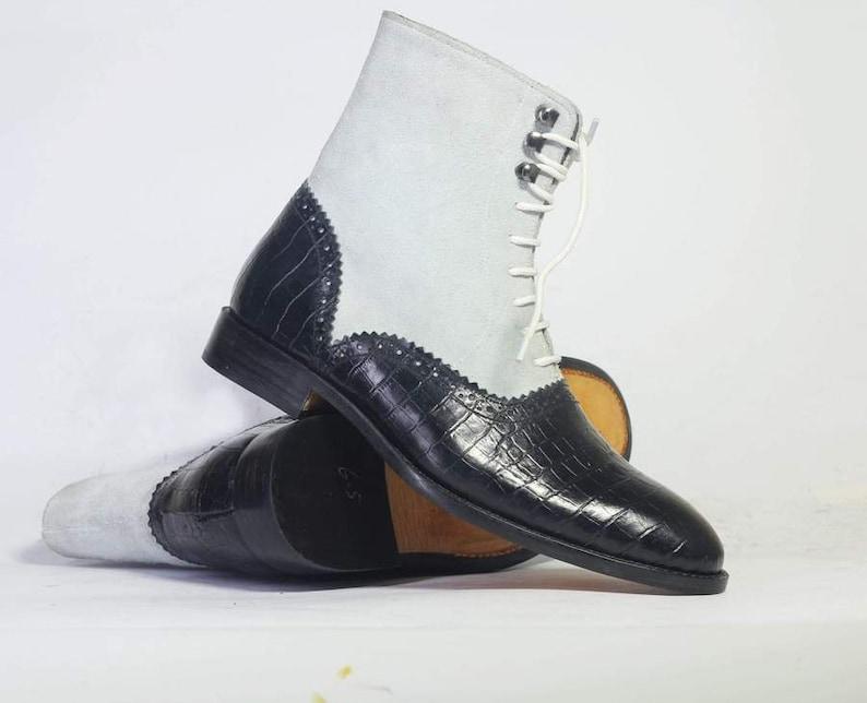 Edwardian Men's Shoes & Boots | 1900, 1910s     Handmade Men Black White Lace Up Boots Men's Brogue Leather & Suede Boots Formal Boots $144.99 AT vintagedancer.com