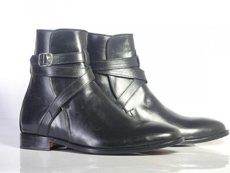 Men's 1950s Shoes Styles- Classics to Saddles to Rockabilly     Mens Handmade Ankle High Black Leather Boots Men Designer Jodhpurs Boots $124.99 AT vintagedancer.com